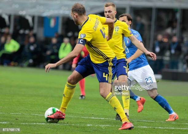 Andreas Granqvist during the playoff match for qualifying for the Football World Cup 2018 between Italia v Svezia in Milan on November 13 2017