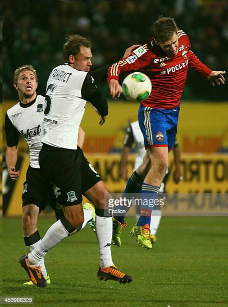 Andreas Granqvist of FC Krasnodar Krasnodar in action against Pontus Wernbloom of PFC CSKA Moscow during the Russian Football League Championship...