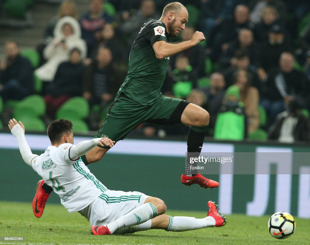 Andreas Granqvist (R) of FC Krasnodar vies for the ball with Wilker Angel of FC Akhmat Grozny during the Russian Premier League match between FC Krasnodar and FC Akhmat Grozny at Krasnodar Stadium on December 03, 2017 in Krasnodar, Russia.