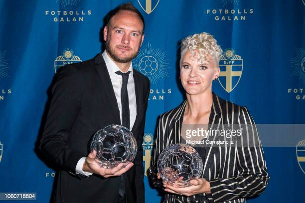 Andreas Granqvist of Helsingborgs IF and Nila Fischer of Wfl Wolfsburg win the Defender of the Year award during the Swedish Football Gala at the...