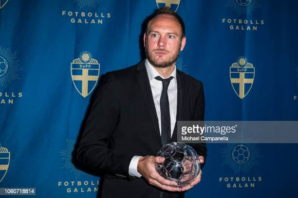 Andreas Granqvist of Helsingborgs IF wins the Defender of the Year award during the Swedish Football Gala at the Ericsson Globe Arena on November 12...