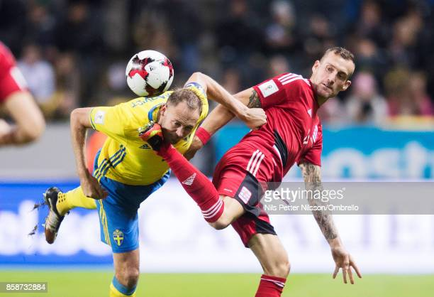 Andreas Granqvist of Sweden and Aurélien Joachim of Luxembourg competes for the ball of Luxembourg competes for the ball during the FIFA 2018 World...