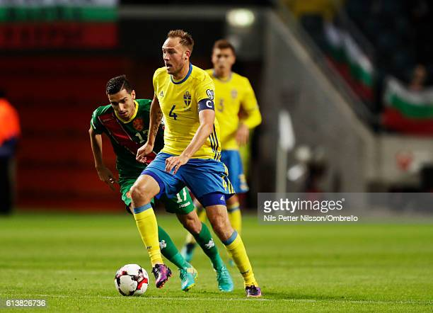 Andreas Granqvist of Sweden and Georgi Milanov of Bulgaria during the FIFA 2018 World Cup Qualifier between Sweden and Bulgaria at Friends Arena on...