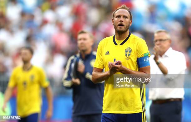 Andreas Granqvist of Sweden applauds fans after the 2018 FIFA World Cup Russia Quarter Final match between Sweden and England at Samara Arena on July...