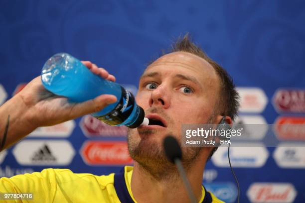 Andreas Granqvist of Sweden attends the post match press conference following the 2018 FIFA World Cup Russia group F match between Sweden and Korea...