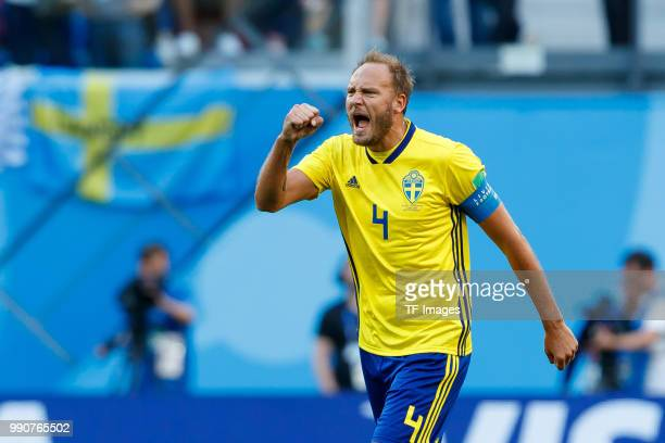 Andreas Granqvist of Sweden celebrates after Emil Forsberg of Sweden scored their team`s first goal during the 2018 FIFA World Cup Russia Round of 16...