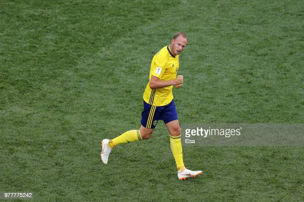 Andreas Granqvist of Sweden celebrates after scoring his team's first goal during the 2018 FIFA World Cup Russia group F match between Sweden and...