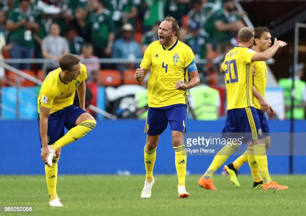 Andreas Granqvist of Sweden celebrates after scoring his team's second goal during the 2018 FIFA World Cup Russia group F match between Mexico and...