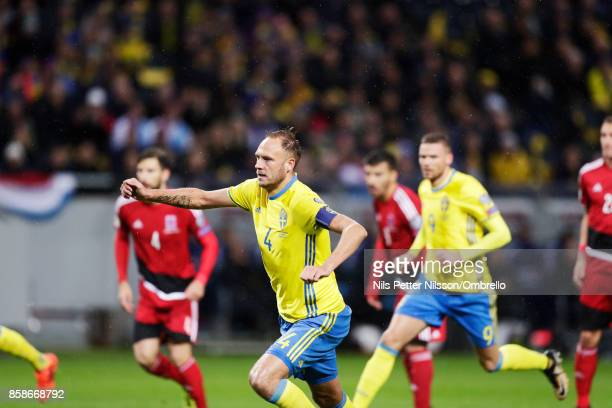 Andreas Granqvist of Sweden celebrates after scoring to 10 during the FIFA 2018 World Cup Qualifier between Sweden and Luxembourg at Friends Arena on...