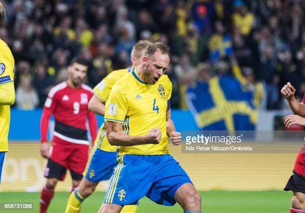 Andreas Granqvist of Sweden celebrates after scoring to 60 during the FIFA 2018 World Cup Qualifier between Sweden and Luxembourg at Friends Arena on...