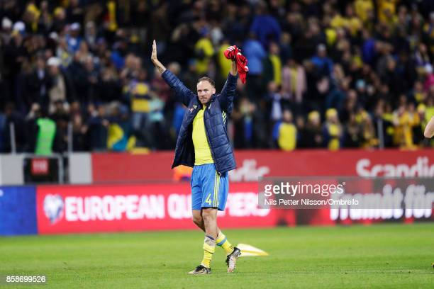 Andreas Granqvist of Sweden celebrates after the victory during the FIFA 2018 World Cup Qualifier between Sweden and Luxembourg at Friends Arena on...