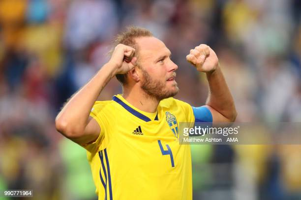 Andreas Granqvist of Sweden celebrates at the end of the 2018 FIFA World Cup Russia Round of 16 match between Sweden and Switzerland at Saint...