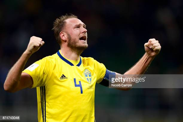 Andreas Granqvist of Sweden celebrates at the end of the FIFA 2018 World Cup Qualifier PlayOff Second Leg between Italy and Sweden The match ended in...