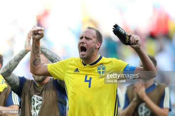 Andreas Granqvist of Sweden celebrates following his sides victory in the 2018 FIFA World Cup Russia group F match between Sweden and Korea Republic...