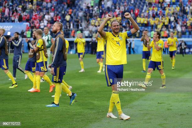 Andreas Granqvist of Sweden celebrates following his sides victory in the 2018 FIFA World Cup Russia Round of 16 match between Sweden and Switzerland...