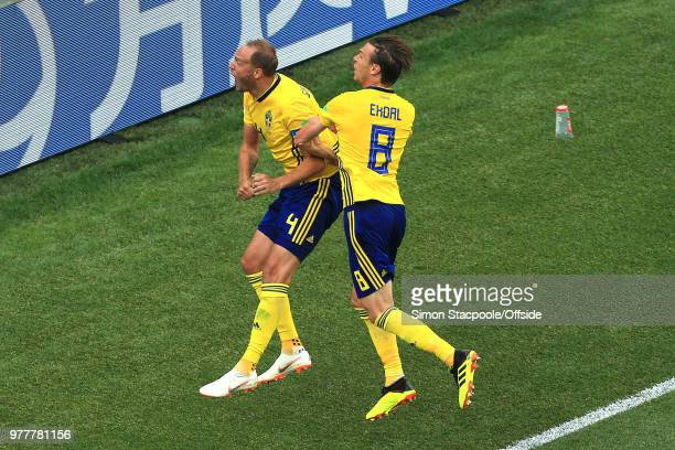 Andreas Granqvist of Sweden celebrates scoring their 1st goal from the penalty spot with Albin Ekdal of Sweden during the 2018 FIFA World Cup Russia...