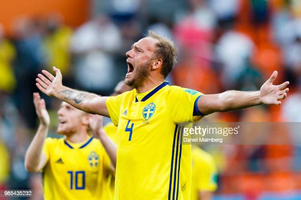 Andreas Granqvist of Sweden celebrates the victory by 03 and the promotion to the 1/8final after the 2018 FIFA World Cup Russia group F match between...