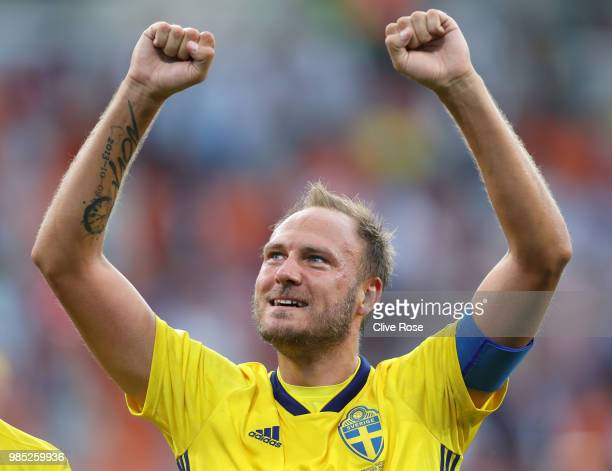 Andreas Granqvist of Sweden celebrates victory following the 2018 FIFA World Cup Russia group F match between Mexico and Sweden at Ekaterinburg Arena...