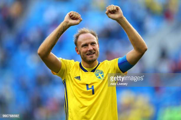Andreas Granqvist of Sweden celebrates victory following the 2018 FIFA World Cup Russia Round of 16 match between Sweden and Switzerland at Saint...
