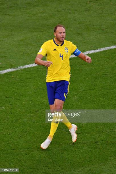 Andreas Granqvist of Sweden celebrates Viktor Claesson and Emil Forsberg after scoring his team's second goal during the 2018 FIFA World Cup Russia...