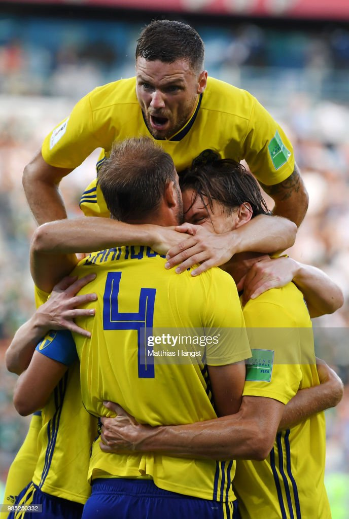 Andreas Granqvist of Sweden celebrates with teammates after scoring his team's second goal during the 2018 FIFA World Cup Russia group F match between Mexico and Sweden at Ekaterinburg Arena on June 27, 2018 in Yekaterinburg, Russia.