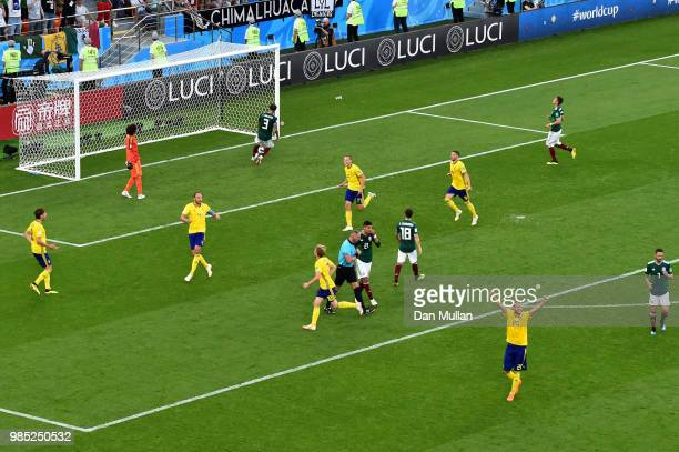 Andreas Granqvist of Sweden celebrates with teammates after scoring his team's second goal during the 2018 FIFA World Cup Russia group F match...