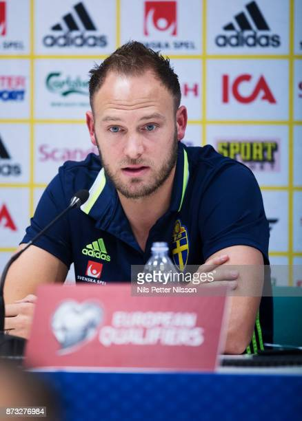 Andreas Granqvist of Sweden during a press conference ahead of the FIFA 2018 World Cup Qualifier PlayOff Second Leg between Italy and Sweden at San...