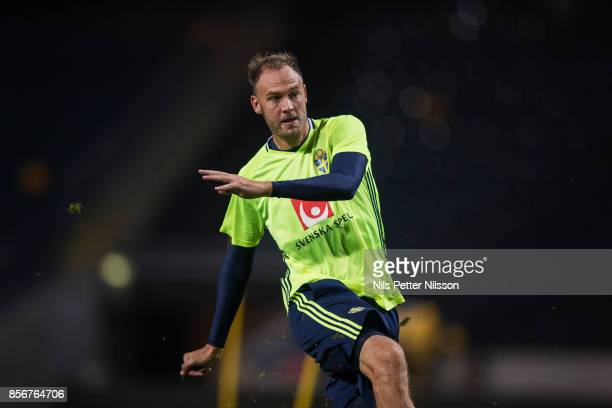 Andreas Granqvist of Sweden during a training session ahead of the FIFA 2018 World Cup Qualifier between Sweden and Luxembourg at Friends arena on...