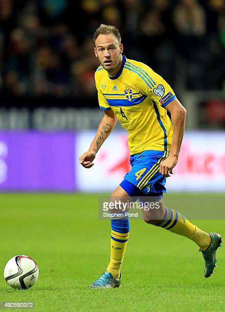 Andreas Granqvist of Sweden during the UEFA EURO 2016 Qualifying match between Sweden and Moldova at the National Stadium Friends Arena on October 12...