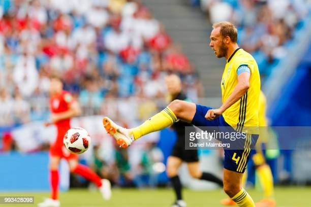 Andreas Granqvist of Sweden focused on the ball during the 2018 FIFA World Cup Russia Quarter Final match between Sweden and England at Samara Arena...