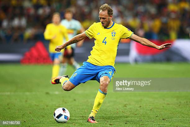 Andreas Granqvist of Sweden in action during the UEFA EURO 2016 Group E match between Sweden and Belgium at Allianz Riviera Stadium on June 22 2016...