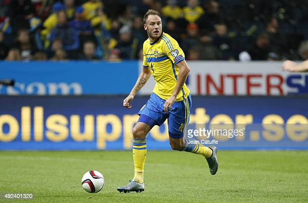 Andreas Granqvist of Sweden in action during the UEFA EURO 2016 qualifier match between Sweden and Moldova at Friends Arena on October 12 2015 in...
