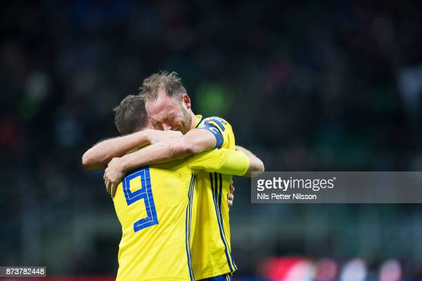Andreas Granqvist of Sweden in tears after the FIFA 2018 World Cup Qualifier PlayOff Second Leg between Italy and Sweden at San Siro Stadium on...
