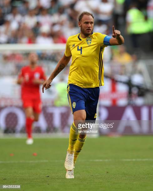 Andreas Granqvist of Sweden is seen during the 2018 FIFA World Cup Russia Quarter Final match between Sweden and England at Samara Arena on July 7...