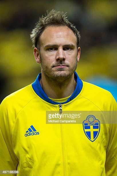 Andreas Granqvist of Sweden looks on during the European Qualifier PlayOff between Sweden and Denmark on November 14 2015 in Solna Sweden