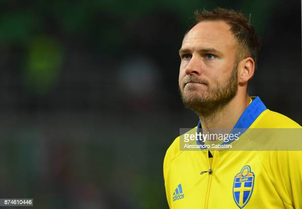 Andreas Granqvist of Sweden looks on during the FIFA 2018 World Cup Qualifier PlayOff Second Leg between Italy and Sweden at San Siro Stadium on...
