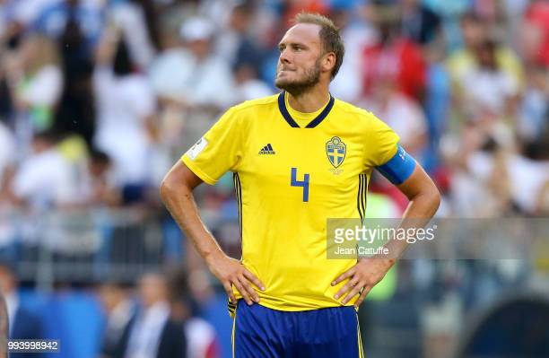 Andreas Granqvist of Sweden looks on following the 2018 FIFA World Cup Russia Quarter Final match between Sweden and England at Samara Arena on July...