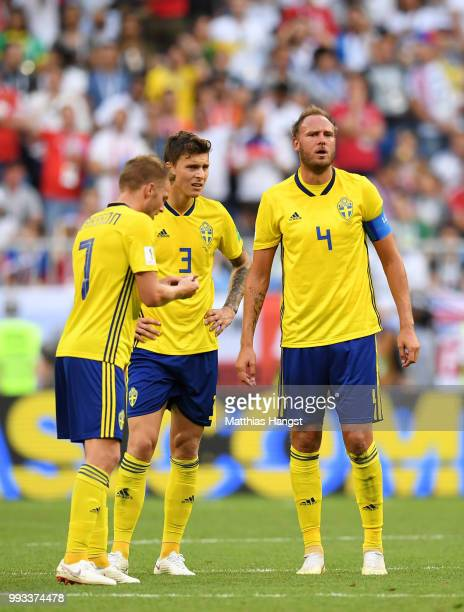 Andreas Granqvist of Sweden reacts during the 2018 FIFA World Cup Russia Quarter Final match between Sweden and England at Samara Arena on July 7...