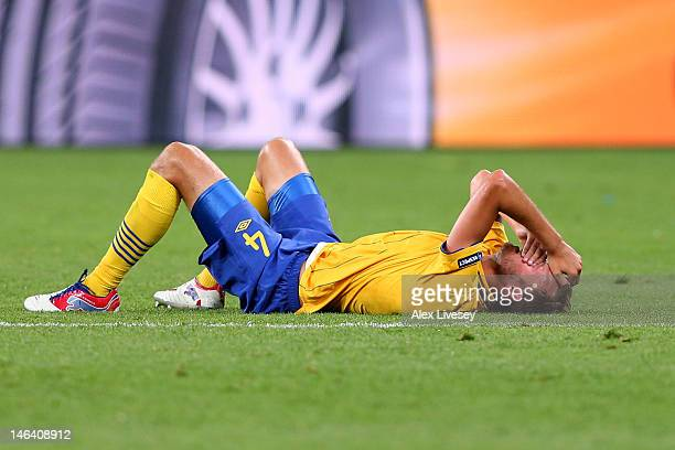 Andreas Granqvist of Sweden reacts during the UEFA EURO 2012 group D match between Sweden and England at The Olympic Stadium on June 15 2012 in Kiev...