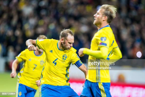 Andreas Granqvist of Sweden scores the 60 goal on penalty during the FIFA 2018 World Cup Qualifier between Sweden and Luxembourg at Friends arena on...