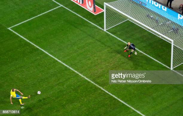 Andreas Granqvist of Sweden scores the opening goal to 10 during the FIFA 2018 World Cup Qualifier between Sweden and Luxembourg at Friends Arena on...