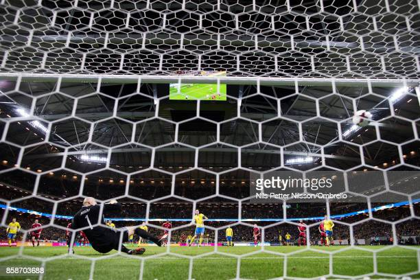 Andreas Granqvist of Sweden scores to 60 during the FIFA 2018 World Cup Qualifier between Sweden and Luxembourg at Friends Arena on October 7 2017 in...