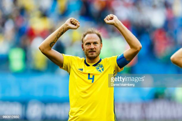 Andreas Granqvist of Sweden thanks the Swedish fans for their support after the 2018 FIFA World Cup Russia Round of 16 match between Sweden and...