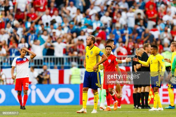 Andreas Granqvistof Sweden looks dejected after the 2018 FIFA World Cup Russia Quarter Final match between Sweden and England at Samara Arena on July...