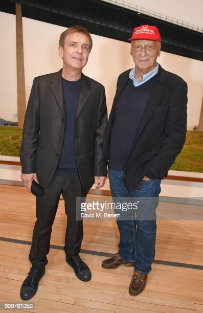 Andreas Gursky and Niki Lauda attend the reopening of The Hayward Gallery featuring the first major UK retrospective of the work of German...