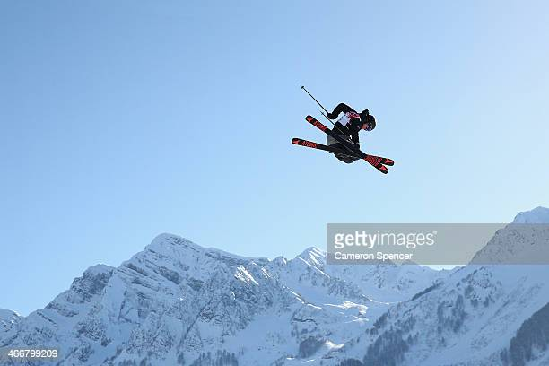 Andreas Haatveit of Norway trains during a Ski Slopestyle practice at the Extreme Park at Rosa Khutor Mountain ahead of the Sochi 2014 Winter...