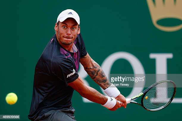 Andreas HaiderMaurer of Austria in action against Novak Djokovic of Serbia during day five of the Monte Carlo Rolex Masters tennis at the MonteCarlo...