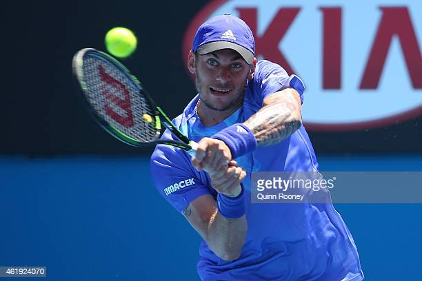 Andreas HaiderMaurer of Austria plays a backhand in his second round match against John Isner of the United States during day four of the 2015...