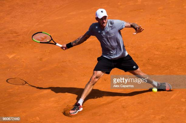 Andreas HaiderMaurer of Austria plays a forehand against Roberto Carballes Baena of Spain in their match during day three of the Barcelona Open Banc...