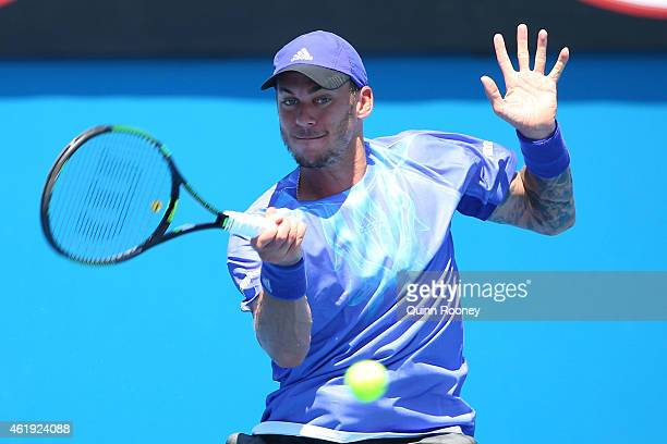 Andreas HaiderMaurer of Austria plays a forehand in his second round match against John Isner of the United States during day four of the 2015...
